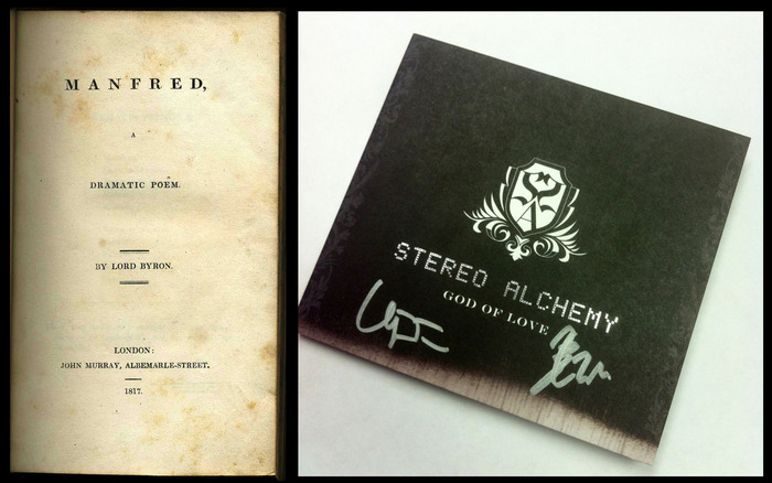 """Inspirations: Lord Byron's """"Manfred"""" (left) & Stereo Alchemy's album """"God of Love"""" (right)"""