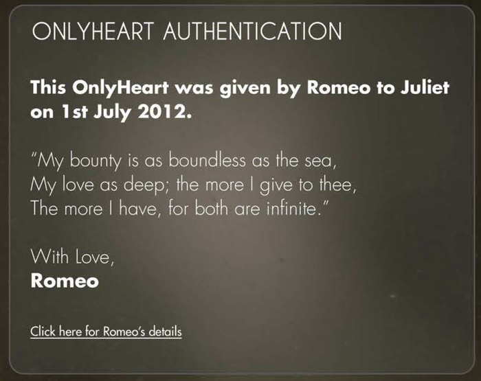 OnlyHeart Authentication Page