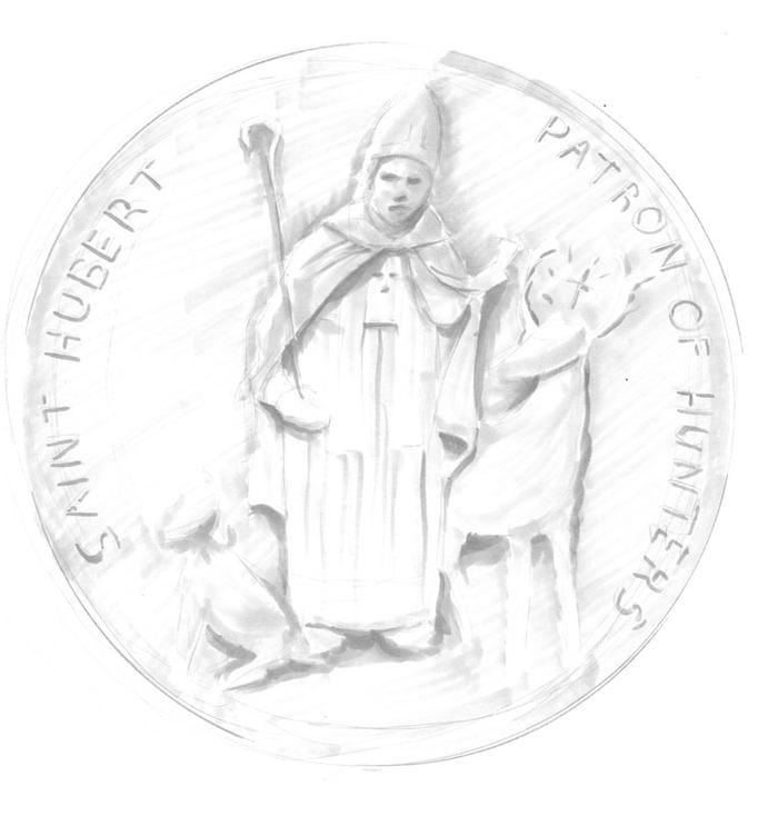 Connor's St. Hubert charm. St. Hubert is the Patron Saint of Hunters