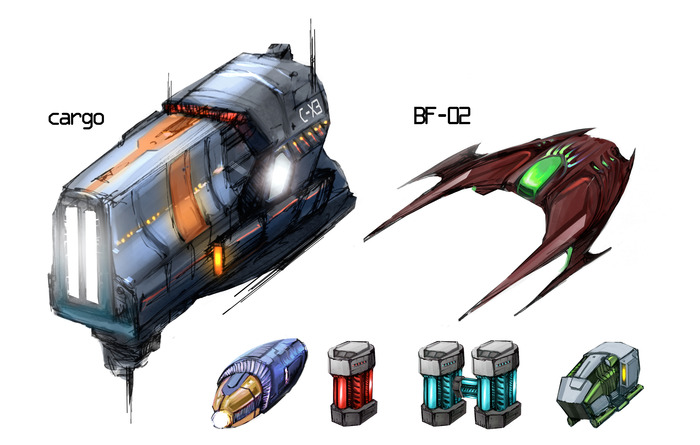 Fighter, shuttles and power-up concepts.