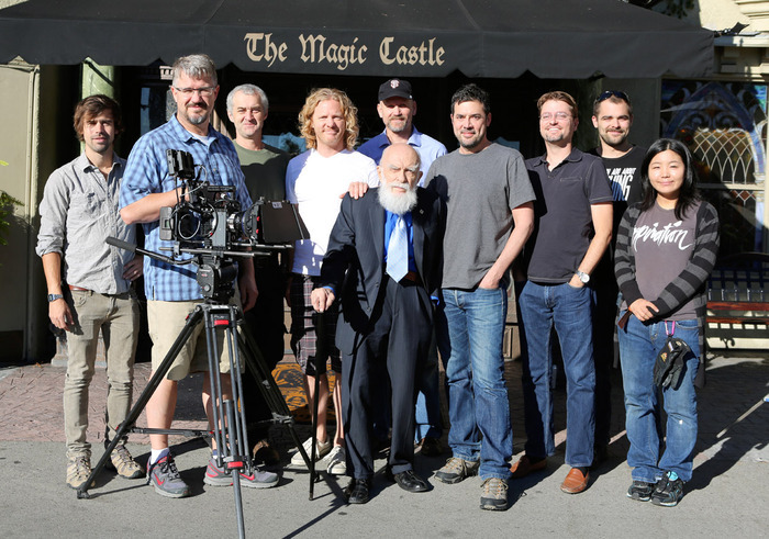 James Randi, Directors Justin & Tyler, and crew outside the Magic Castle.
