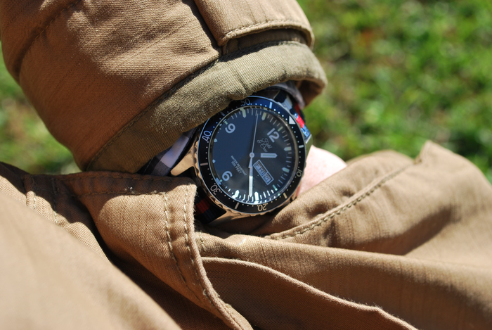 Heritage Watch with our Americana Striped Canvas Band