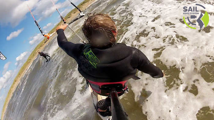 The first prototype was bulky and heavy but got great shots with kitesurfing.