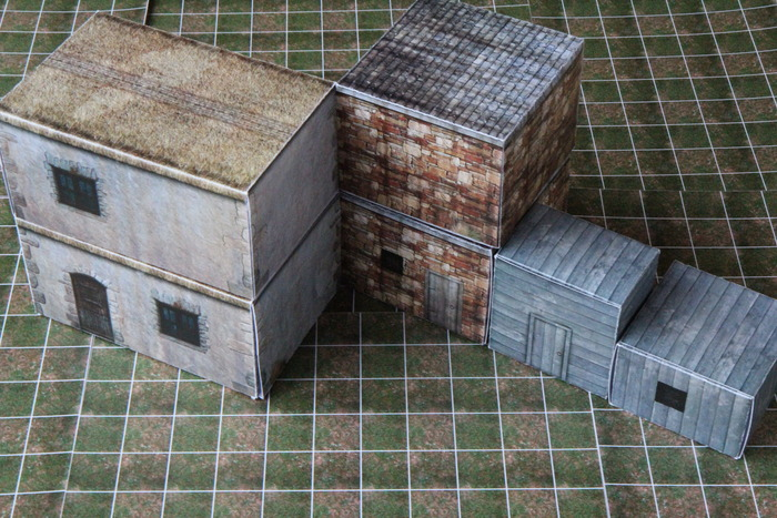 village set - two of each building - prototype 2