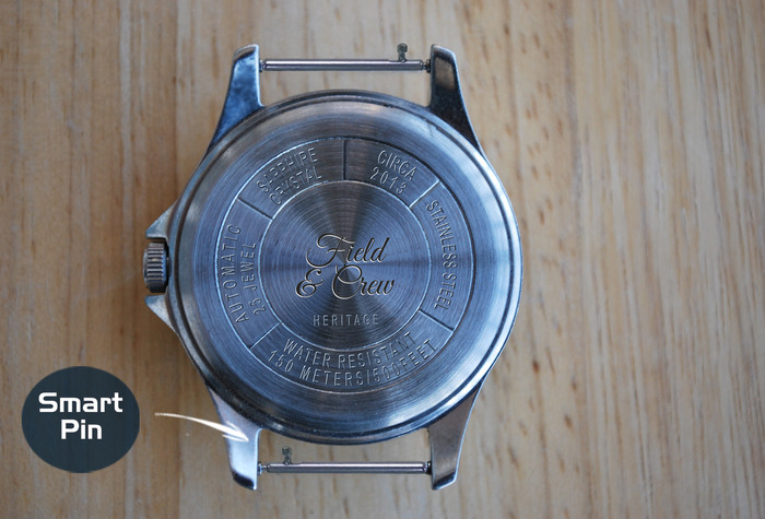 Rear view of Heritage Watch Case & Watch Pin (Smart Pin)