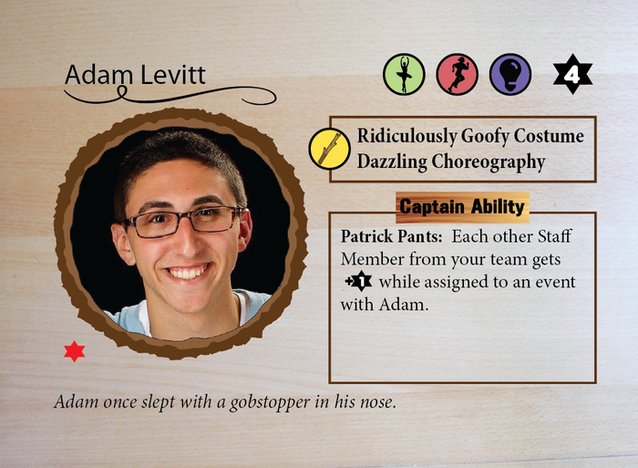 Here's Adam Levitt's card; you can see his skills and abilities across the top, right next to his Ruach value in the top right corner.  His Shtick repertoire and his Captain Ability are in the boxes on the right-hand side.