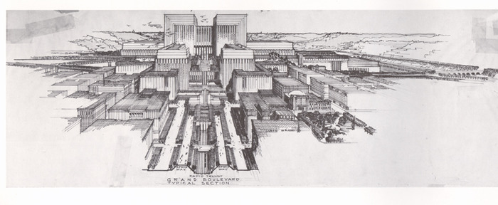 Lloyd Wright, Civic Center Plan (Courtesy Eric Lloyd Wright/ UCLA Special Collections)