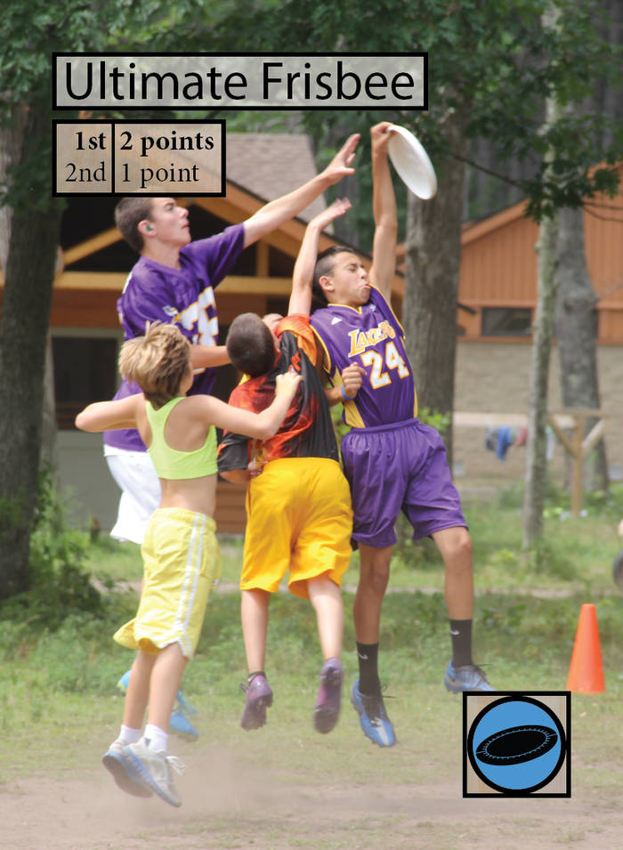 This is the Ultimate Frisbee Rotation event.  That symbol in the bottom-right corner means that any staff member with the Ultimate skill gets a +2 Ruach bonus at this event!