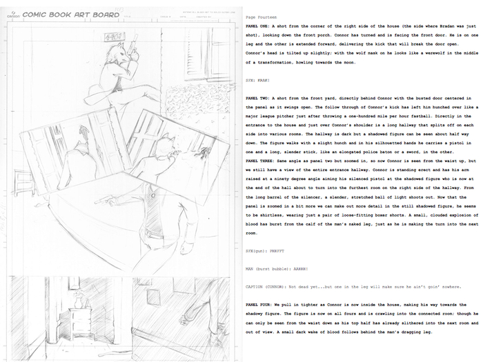 Here's a look at a page of the comic, from script to art!