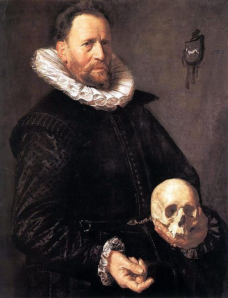 This is what an important portrait once looked like. (Frans Hals - Portrait of a Man Holding a Skull)