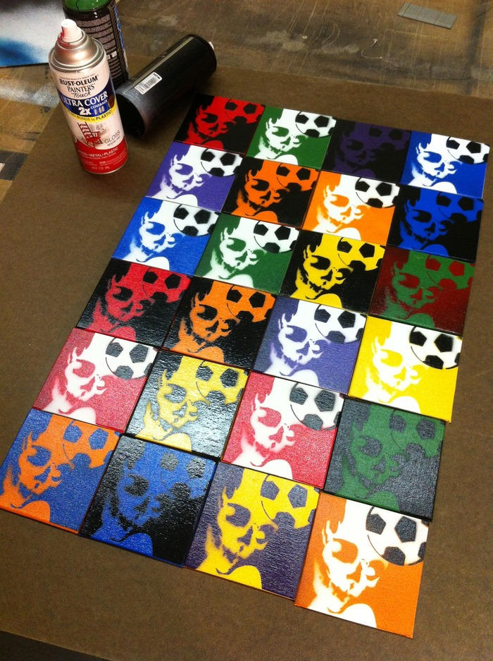 """""""Skull Header"""" spray-painting. Any set of 4 squares for $40 pledge, or one 4"""" x 4"""" square for just $11 pledge."""