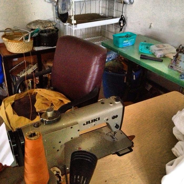 Chookie's sewing workshop...