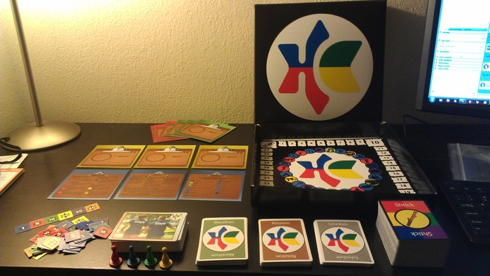 Check it out!  This is the prototype that we'll be playtesting with.  The base game comes with everything you see here, everything you need to play with up to four players!
