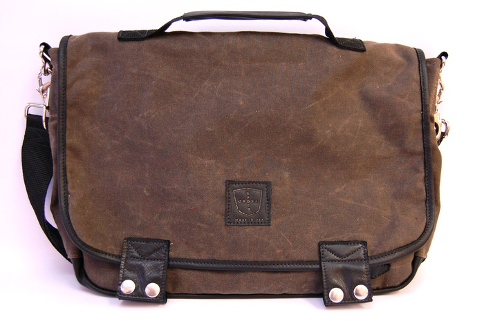 The XL 06 Messenger- Dark Oak Waxed Canvas and Walnut Leather Trim, Retail Price $275