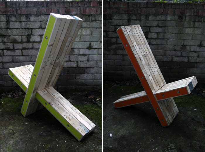 The XChair; Light Green and Orange