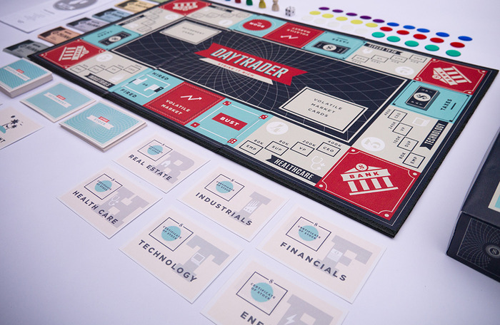 Daytrader comes with 4 stock cards of each company around the board.