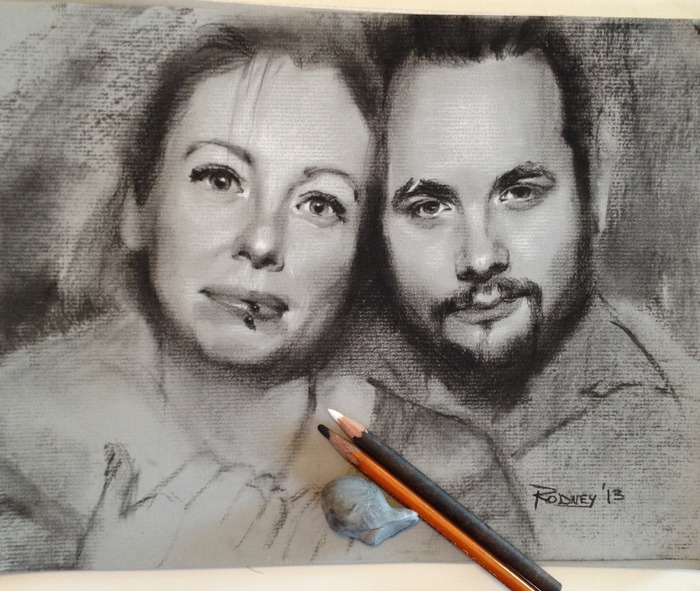 """""""Caz and Ian"""" 9x12in sketch, black and white charcoal on toned paper"""