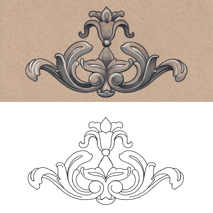 Complimenting line art for each illustration.