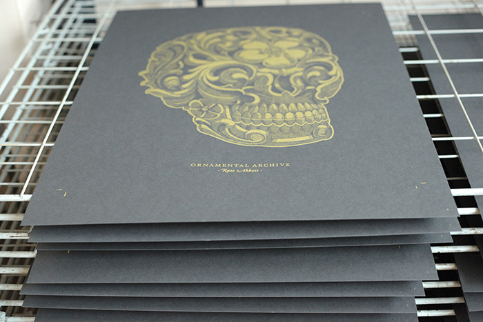 Limited edition screen-prints. Gold ink, on heavy stock french paper.
