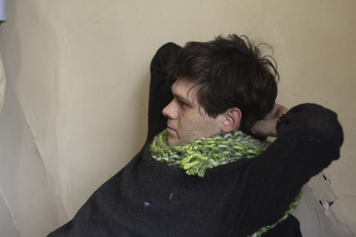 Producer Matthew Thurm wearing his ROVER scarf