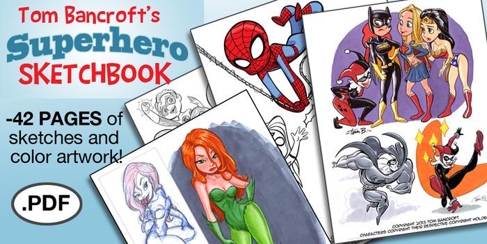 Page samples of the Tom Bancroft SUPERHEROES PDF Sketchbook