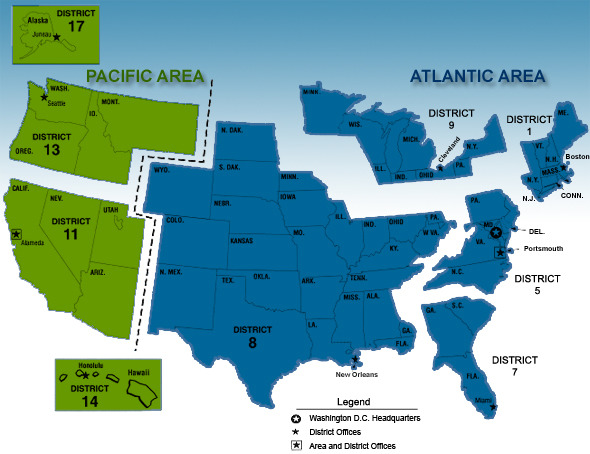US Chart districts - courtesy of NOAA