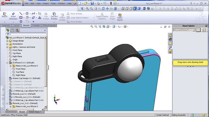 Luxi created in CAD to prepare it for production