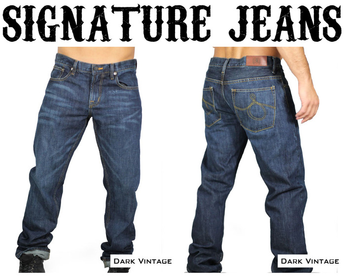 Our Signature Jeans are made of 12 ounce denim straight from North Carolina's Cone Denim Mills, a leading supplier of denim fabrics since 1891. Each of our Signature Jeans come in a straight leg cut with a medium rise.