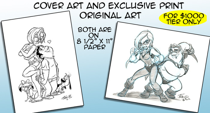 Cover art is hand inked and Print art is in pencil