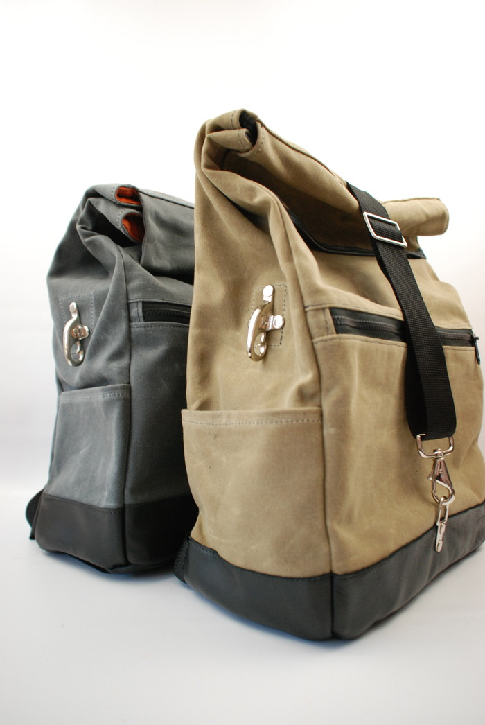 Shown in Sage and Charcoal Waxed Canvas with Black Leather Trim