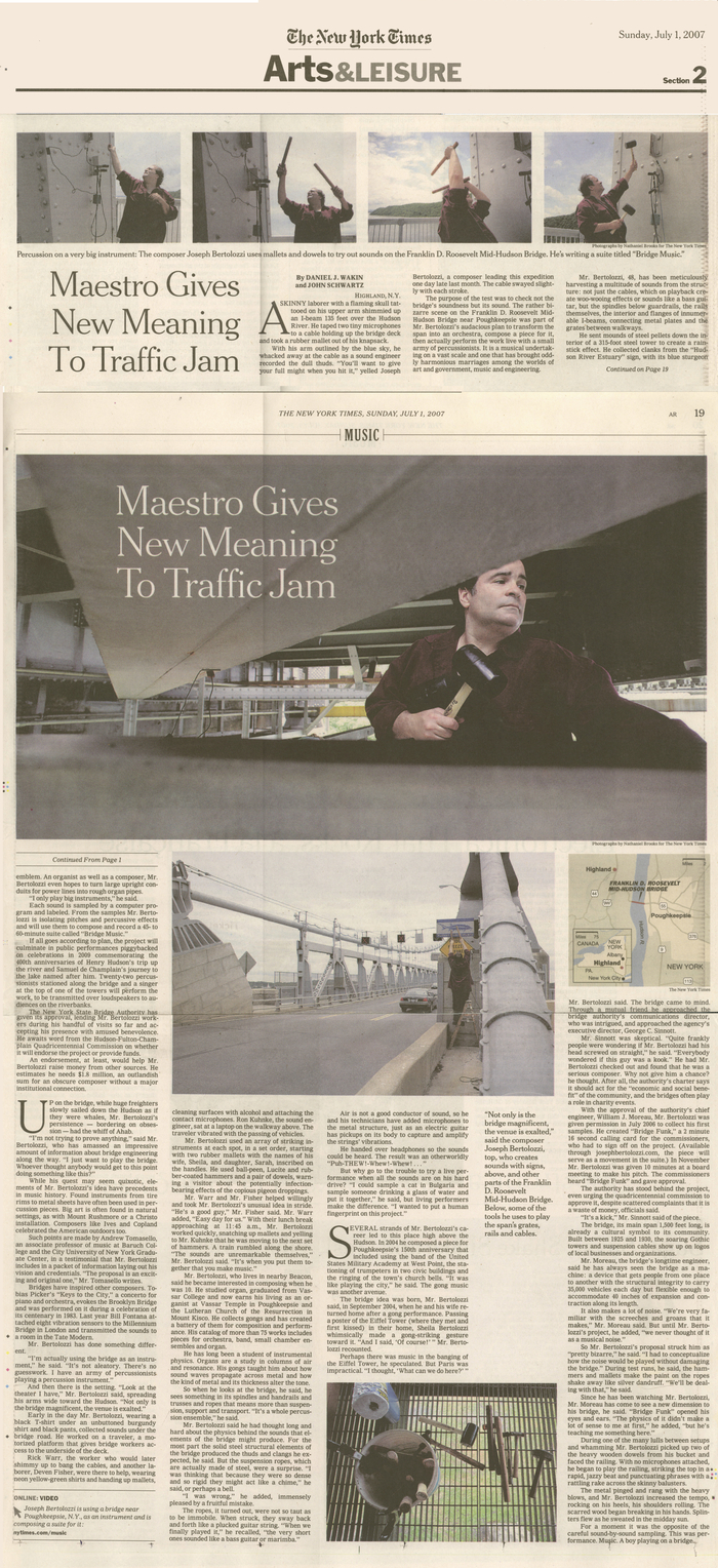 New York Times Article on Bridge Music