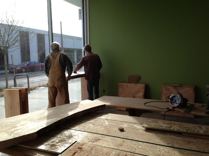Constructing the coffee counter. Prime people-watching views of Main Street.