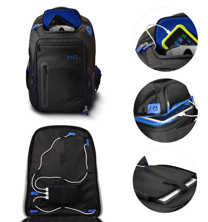 The Energi Backpack features a protective sunglass pocket, Easy Routing of cables to 7 pockets for charging, a dedicated Tablet pocket, and a fly thru checkpoint friendly laptop pocket