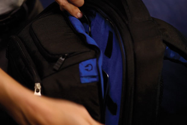 Dedicated Easy Access Tablet Pocket with velvety blue fabric liner