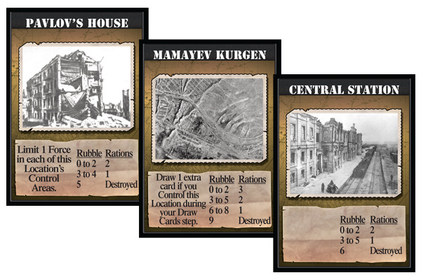 Examples of some of the game's Location cards