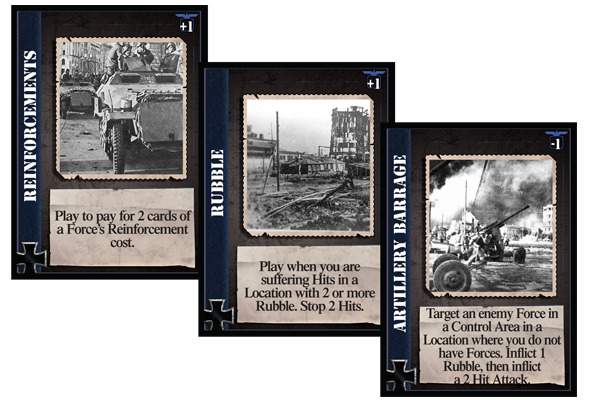 A selection of cards for use by the German player