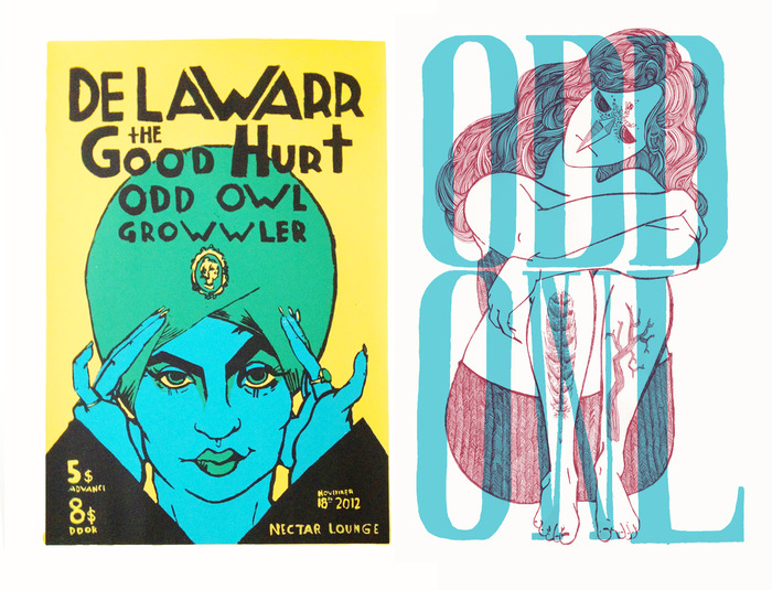 Psychic Lady Poster and Owl Lady Poster (comes in red/teal, blue/teal, red/green, and blue/green)
