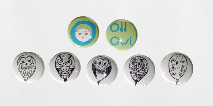 Odd Owl Button Set (top), Owl Balloon Button Set (bottom)