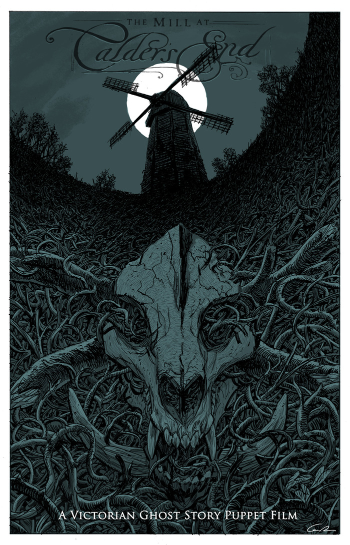 """THE MILL AT CALDER'S END LIMITED EDITION (ONLY 50 TO BE PRINTED) POSTER by Guy Davis (Concept Artist for Pacific Rim, Guillermo del Toro's Pinocchio, and Creator of the graphic novel series """"The Marquis"""")"""
