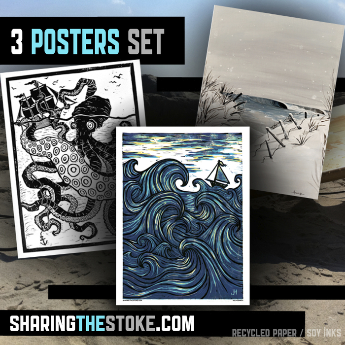 A set of 3 posters printed with soy based ink on recycled card stock by friend and artist Joe Hodnicki