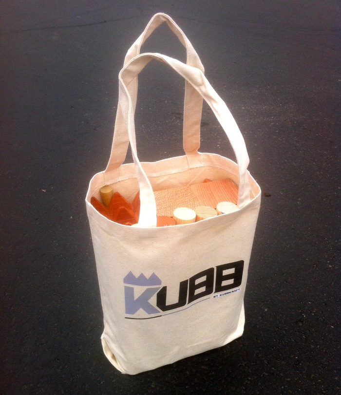 Add $8 to your pledge and get an awesome bag for transporting and storing your Kubb set!