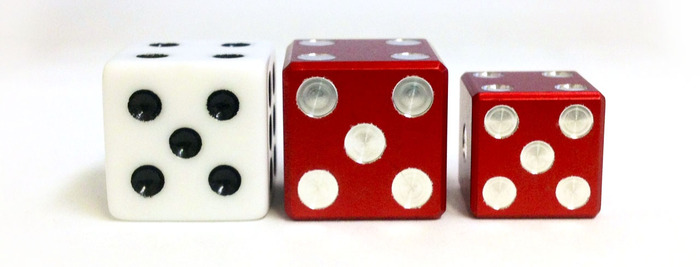 Above are prototyped aluminum in both sizes next to a standard Monopoly 16mm plastic die for size comparison
