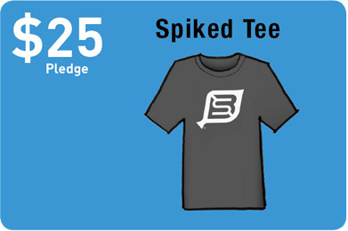 A tee shirt with the BikeSpike logo screen printed fresh, in our home town of Chicago.