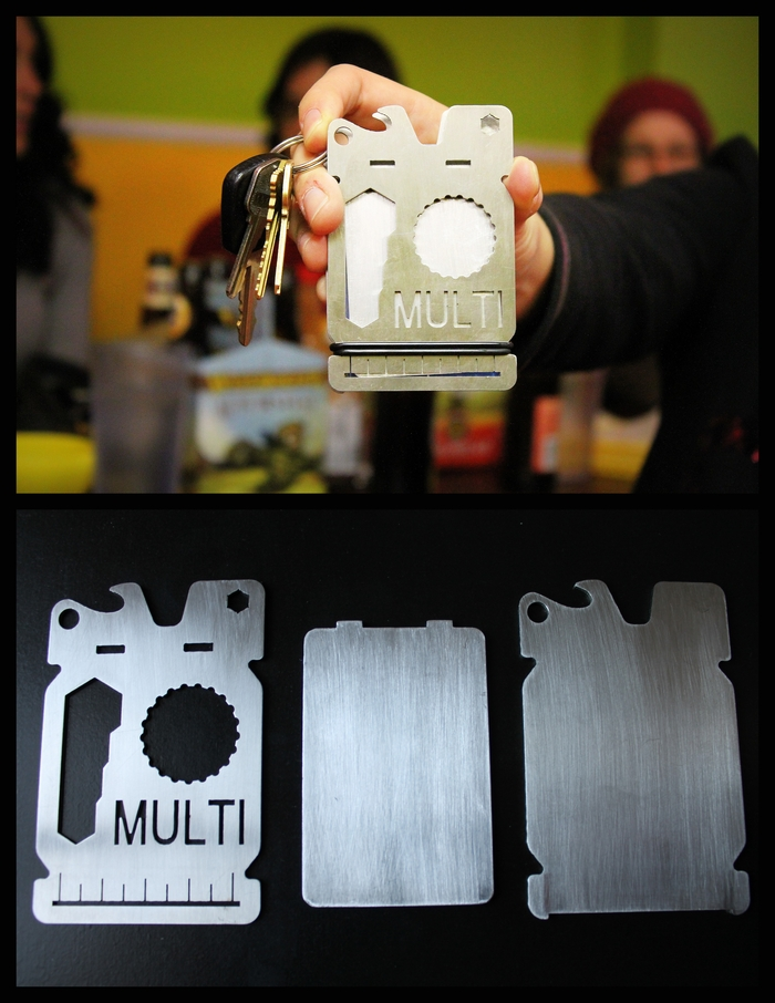 Meet: THE MULTI: a 3 plate minimal wallet and multi-tool all-in-one. Available with custom cut-out engraving and custom colors.