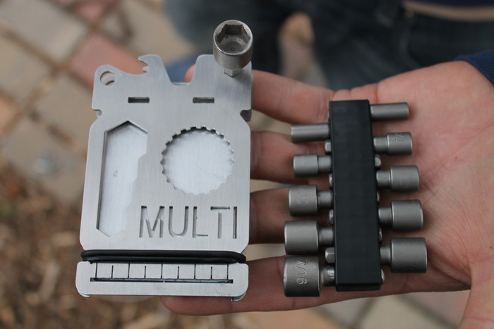 """Where ours says """"MULTI"""", enjoy your own custom, cut-out engraving. Add your initials, favorite word or lucky numbers! The MULTI becomes an endless number of tools due to its modular driver bit design."""