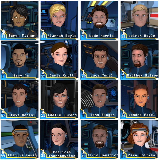 """The crew of the C-3800-D """"ZENLIL"""".  Only missing Bishop Six - YOU."""