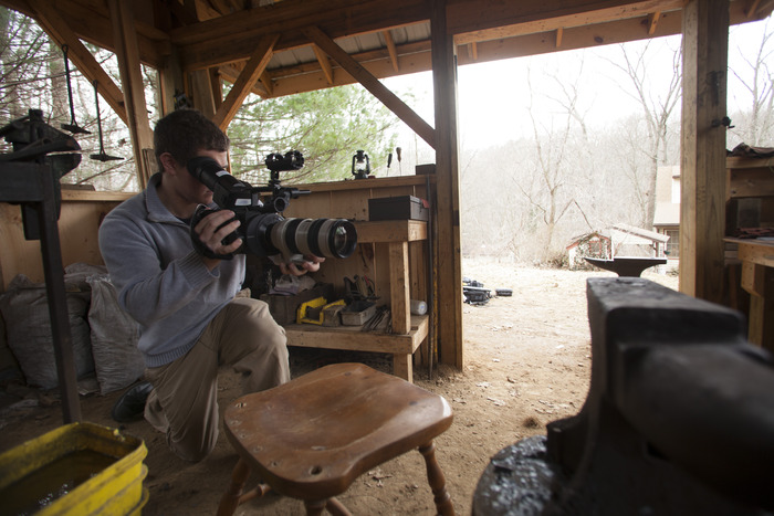 Luke Rafferty captures slow-motion video at Michael Fox's forge in Hanover, PA.
