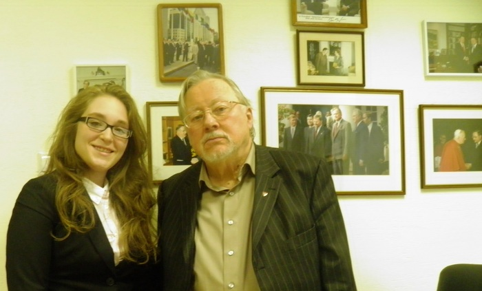 The director, Rima Gungor, with the former President of Lithuania, Vytautas Landsbergis