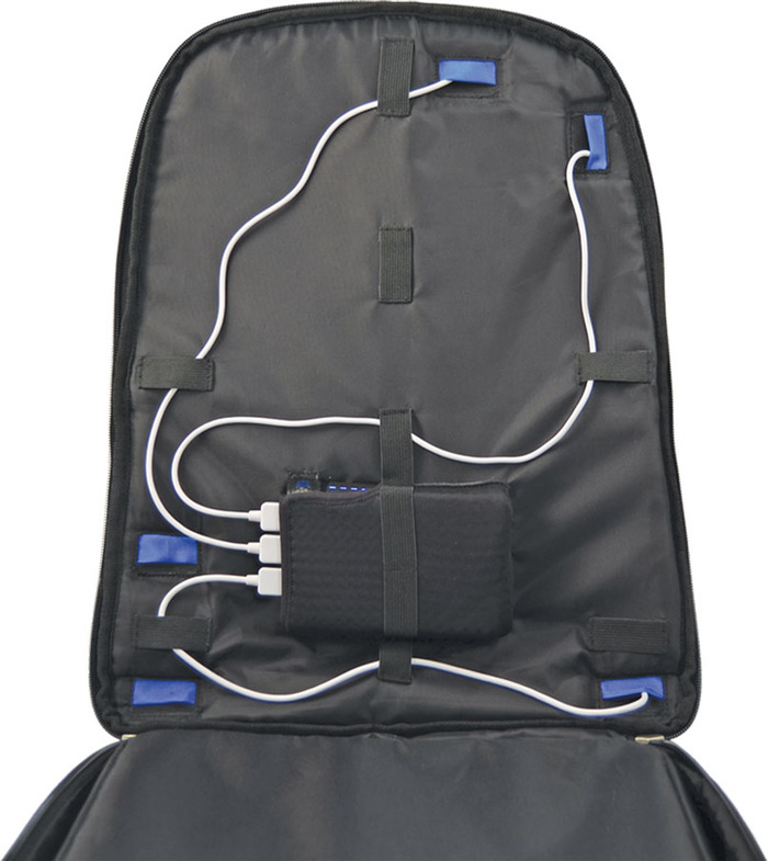 The routing system with 3 cables routed to pockets