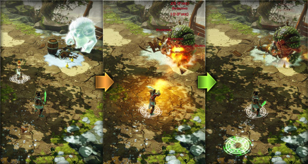 An example of manipulating the elements: fire turns ice into water. Characters standing in water get wet. Wet characters have a penalty against lightning damage. (Current in-game screenshots, work in progress.)